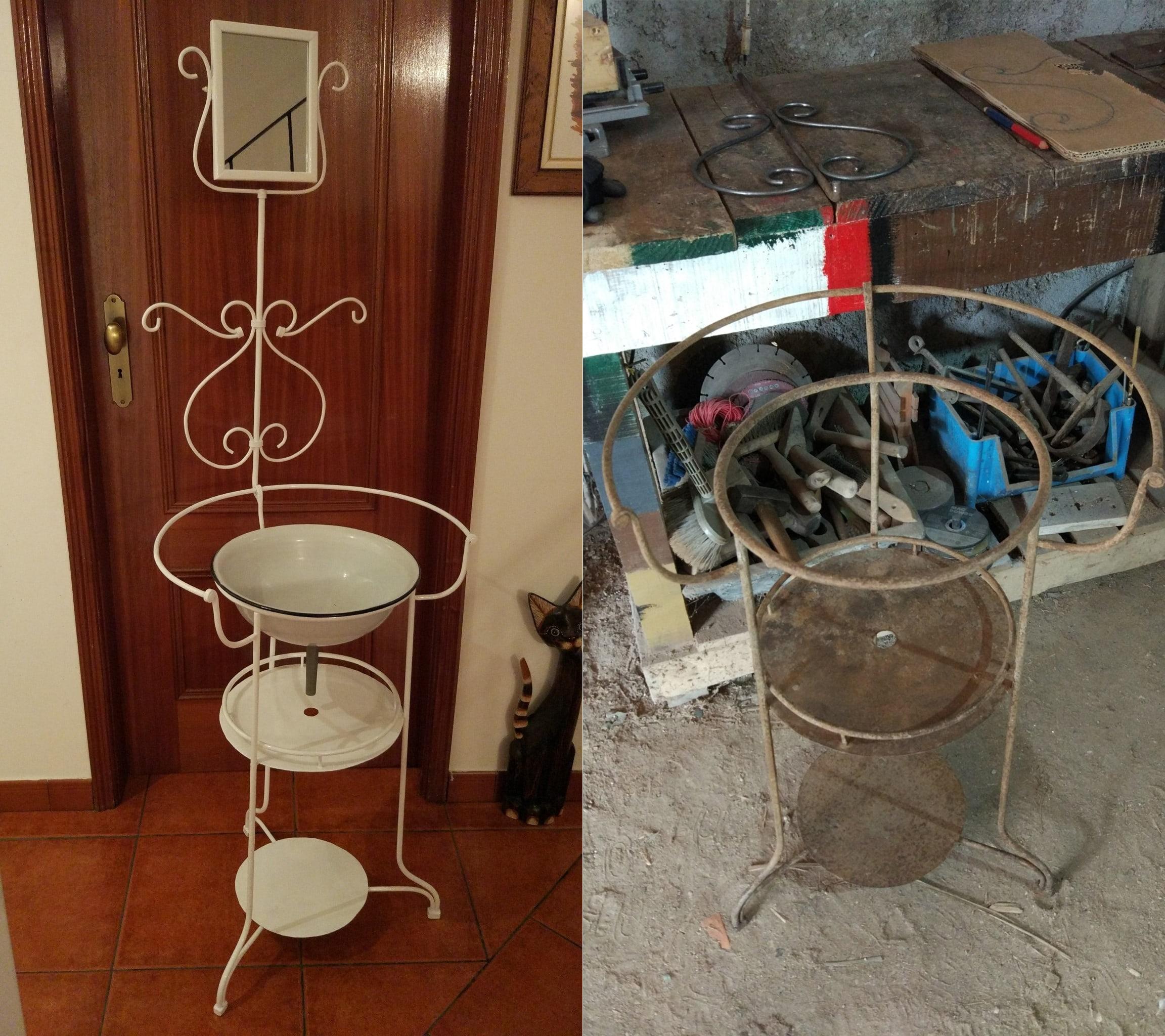 Lavatório com espelho retangular