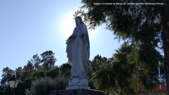 Sagrado Coração de Maria à entrada de Póvoa de Cervães