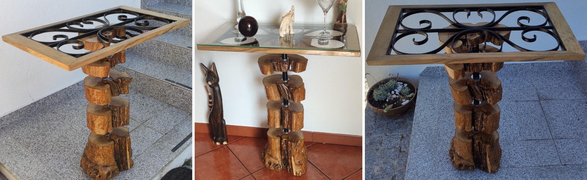 Mesa com tronco de oliveira e grade em ferro.